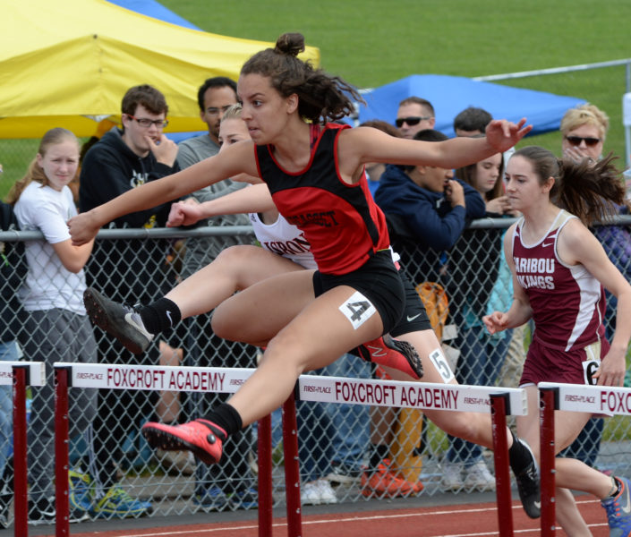 Wiscasset's Ayanna Stover was State Class C runner-up in the 100 hurdles. (Paula Roberts photo)