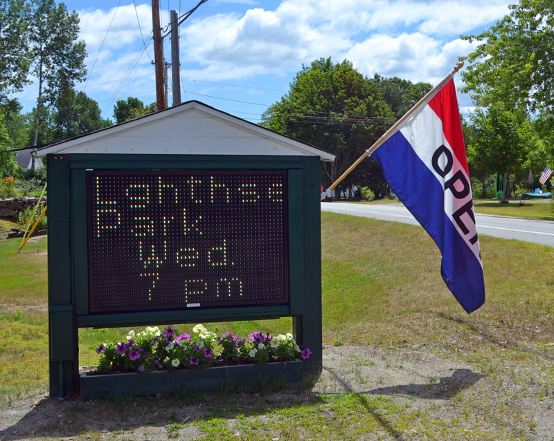 A new electronic sign at Ellingwood Park in Bristol has sparked discussion about whether electronic signs fit the character of the town. (Maia Zewert photo)