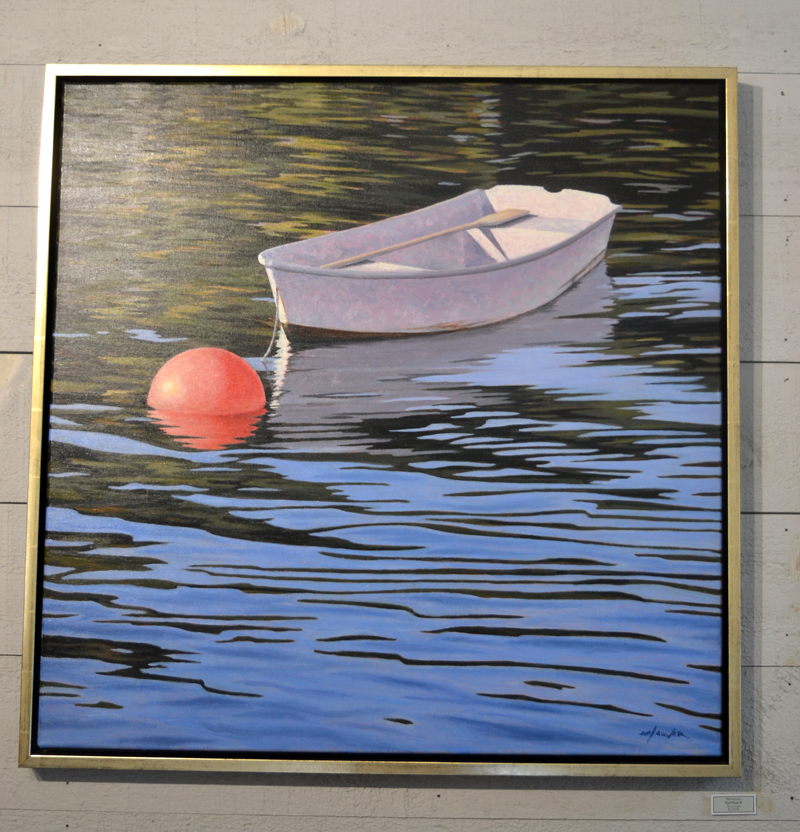 "Will Kefauver's ""Red Float II"" greets gallery-goers at ""The Boat Show"" at Kefauver Studio & Gallery in Damariscotta. (Christine LaPado-Breglia photo)"