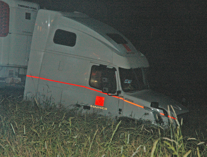 A semitrailer came to a rest on the northbound side of Route 1 in Damariscotta after a collision with a pickup truck early Saturday, July 1. (Alexander Violo photo)