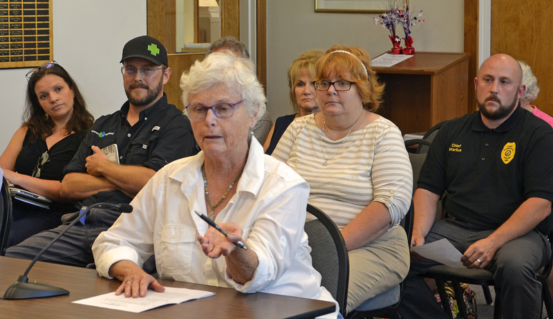 Lorraine Faherty speaks during a public hearing about recreational marijuana at the Damariscotta town office Wednesday, July 19. (Maia Zewert photo)