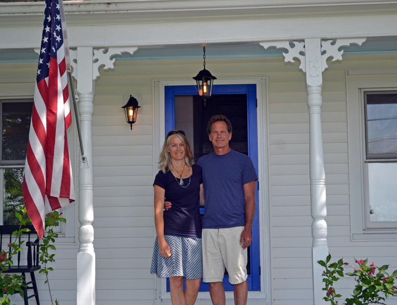 Brad and Danielle Betts stand at the entrance to Down East Gallery in Edgecomb on Thursday, July 6. (Abigail Adams photo)