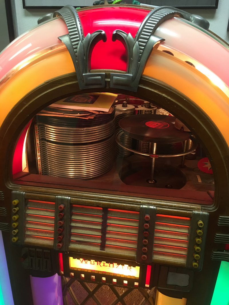 This vintage record-playing jukebox in the lobby of The Harbor Theatre in Boothbay Harbor captures the retro spirit of the inviting movie theater. (Christine LaPado-Breglia photo)