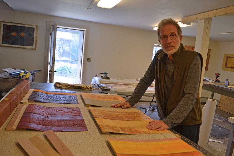 Nobleboro artist George Mason in his basement studio. (Christine LaPado-Breglia photo)
