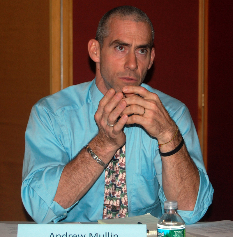 "Lincoln Academy Associate Head of School Andrew T. ""Andy"" Mullin participates in a panel on bullying at Skidompha Library on Nov. 3, 2011. (J.W. Oliver photo, LCN file)"