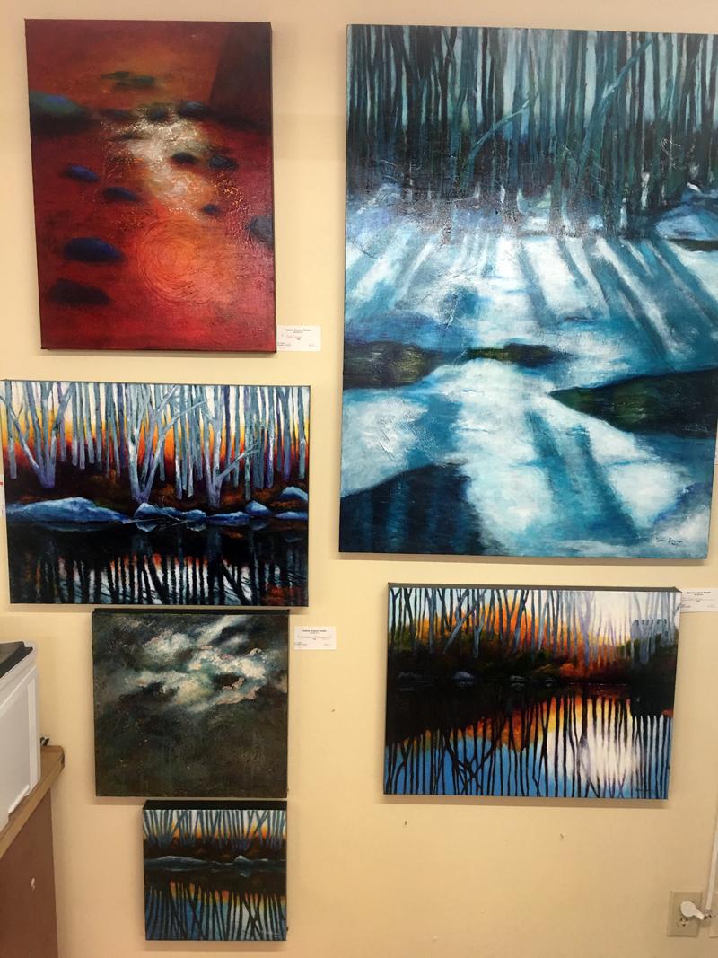 Paintings in Valerie Greene's river series. (Christine LaPado-Breglia photo)