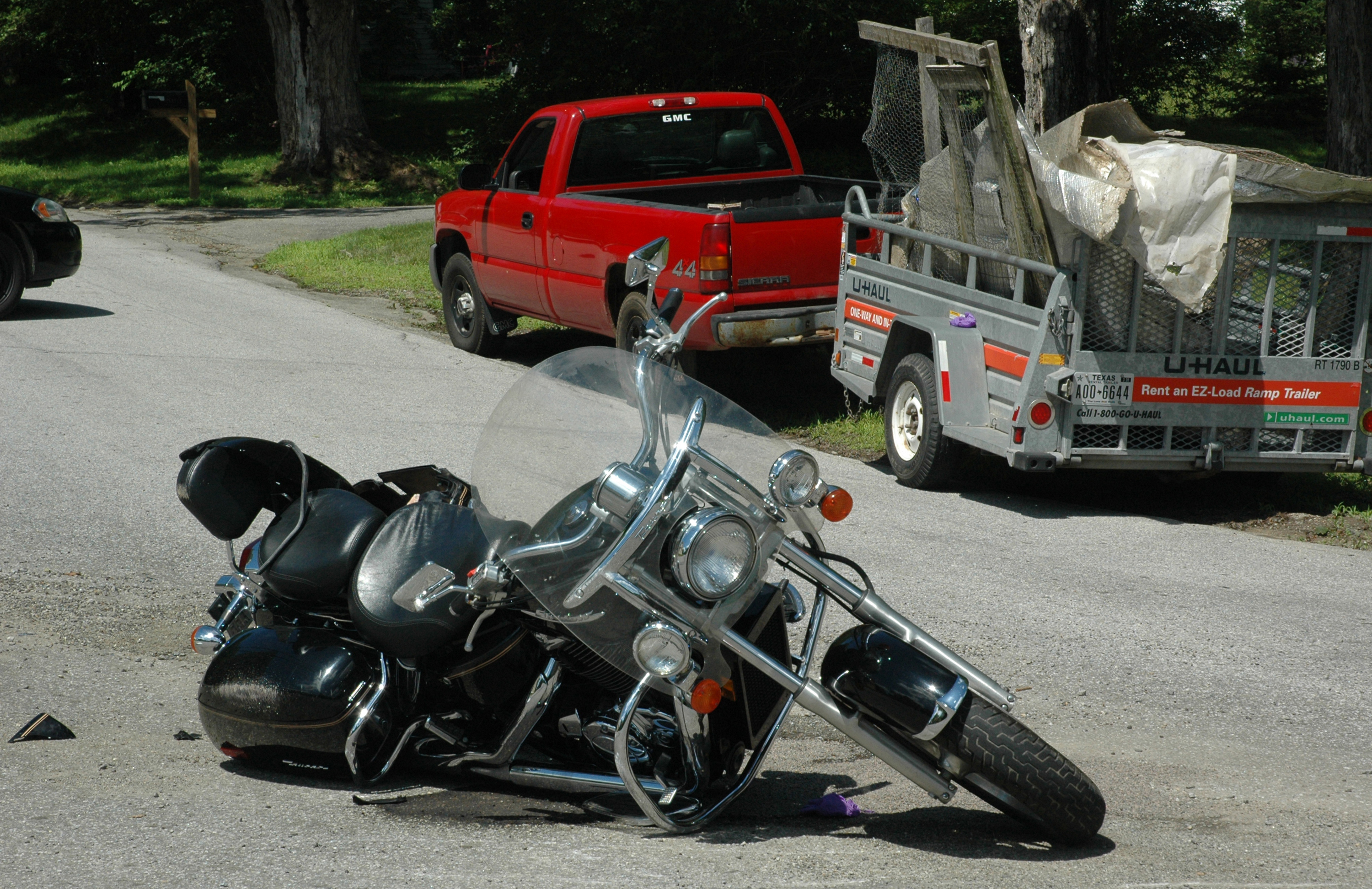 A helicopter flew a motorcyclist to the hospital after a collision with a pickup truck at the intersection of Route 220 and Old Augusta Road in Waldoboro on Sunday, July 2. (Alexander Violo photo)