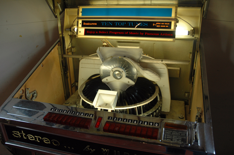 """A jukebox queues up """"Get Off of My Cloud"""" by The Rolling Stones at Pinky Larue in Waldoboro. The vintage store will open Saturday, July 8. (Alexander Violo photo)"""