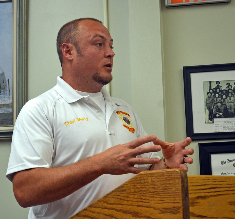 Wiscasset Fire Chief T.J. Merry addresses the Wiscasset Board of Selectmen on Tuesday, July 18. (Abigail Adams photo)