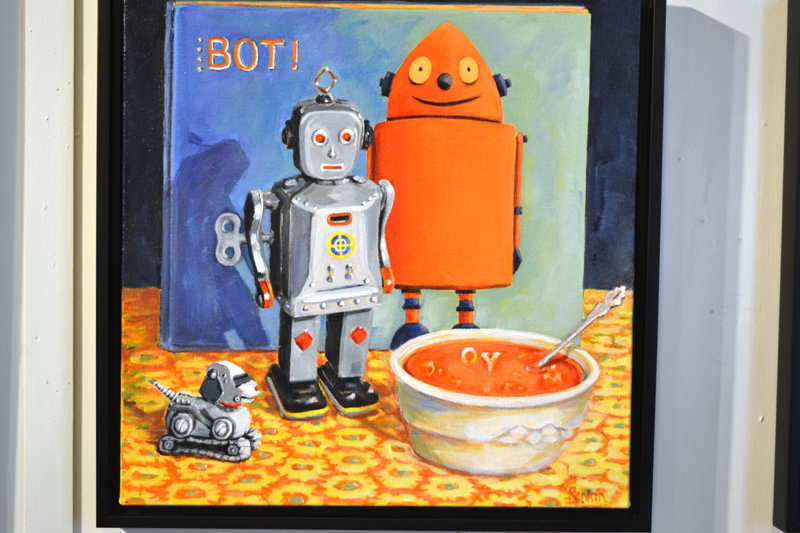 """""""Robot Lunch,"""" one of the acrylic paintings in Denise Rankin's """"Robots"""" series on exhibit at The Stable Gallery in Damariscotta through mid-September. (Christine LaPado-Breglia photo)"""