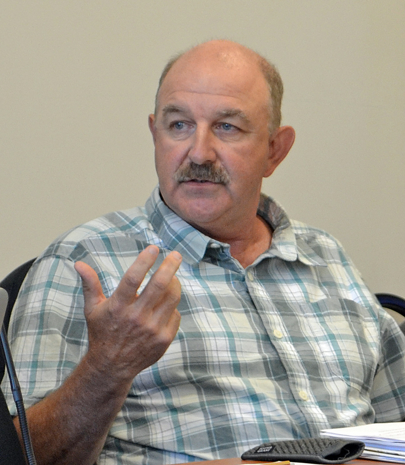 Selectman Mark Hagar speaks against a moratorium on commercial development during the Damariscotta Board of Selectmen's meeting Tuesday, Aug. 1. (Maia Zewert photo)