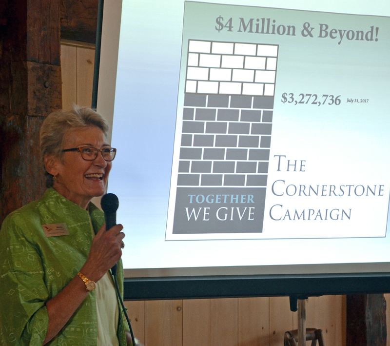 LincolnHealth Board of Trustees member Marva Nesbit announces the $700,000 goal for The Cornerstone Campaign during a kickoff event at The 1812 Farm in Bristol Mills on Tuesday, Aug. 1. (Maia Zewert photo)