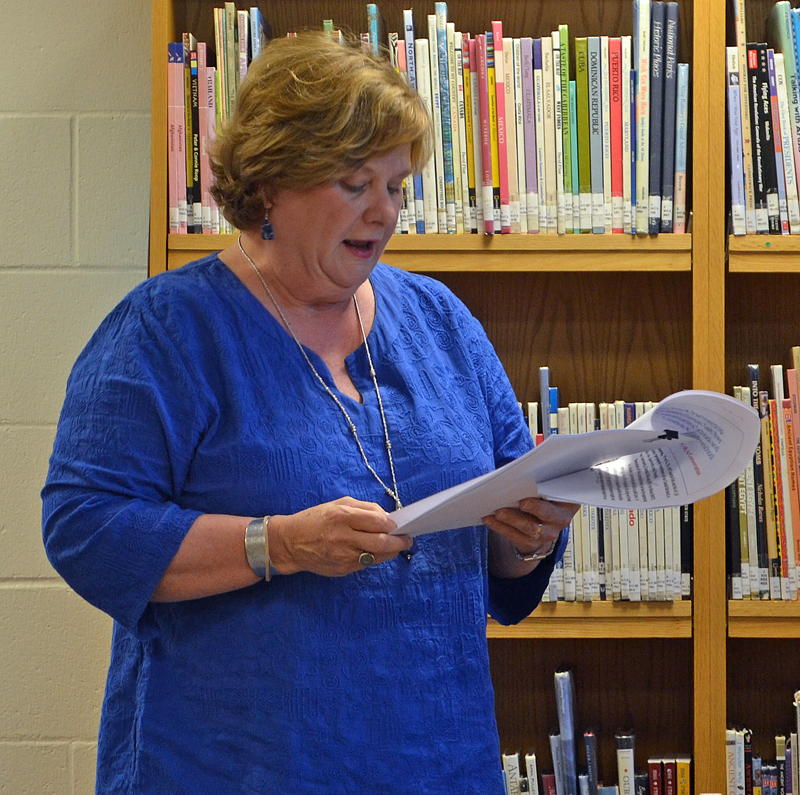 Coastal Kids Preschool Executive Director Mimi Reeves makes a presentation to the Great Salt Bay School Committee about a potential public pre-K partnership Wednesday, Aug. 9. (Maia Zewert photo)