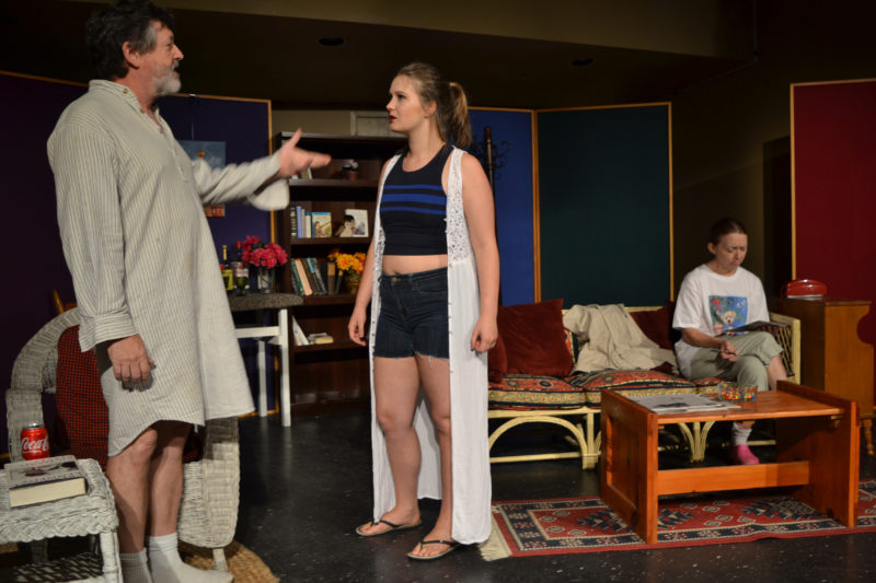 """From left: Stephen Wallace as Vanya, Thalia Eddyblouin as Cassandra, and Christine Andersen as Sonia in a scene from the River Company production of """"Vanya and Sonia and Masha and Spike."""" (Christine LaPado-Breglia photo)"""