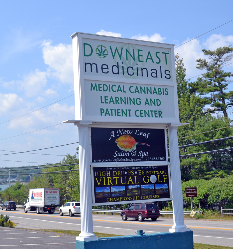 A sign on Route 1 in Edgecomb welcomes customers to Downeast Medicinals. (Abigail Adams photo)