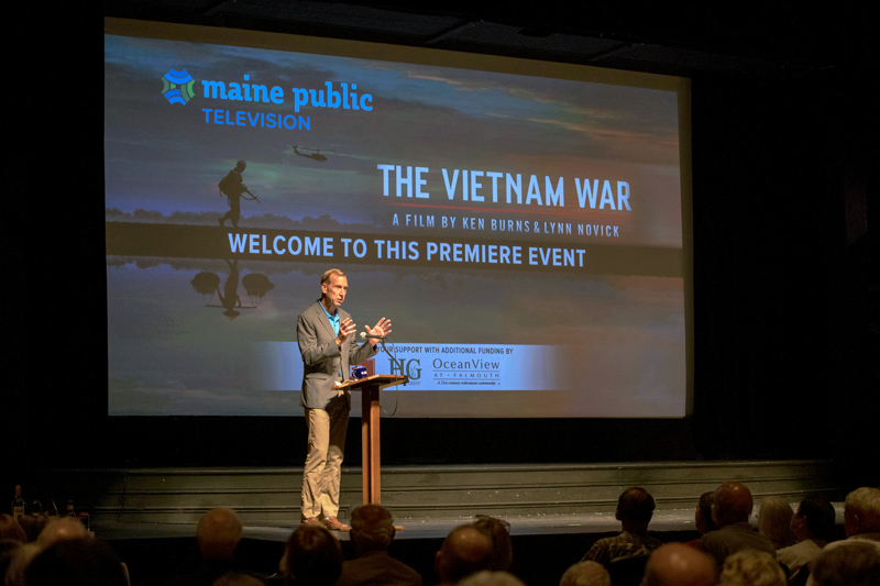 Maine Public CEO and President Mark Vogelzang addresses the audience during Lincoln Theater's annual membership meeting the evening of Tuesday, Aug. 22. (Photo courtesy Maine Public)