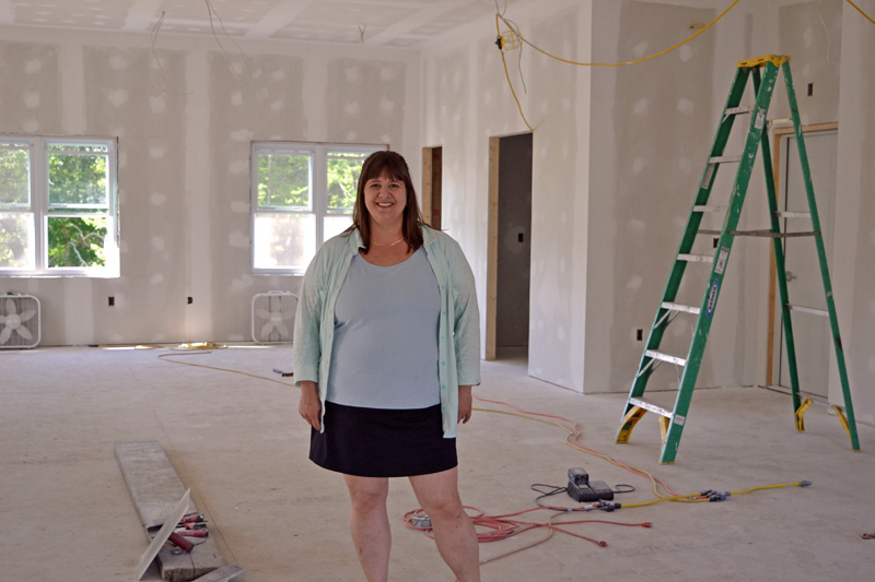 Potter and ceramics teacher Liz Proffetty stands inside the soon-to-be-completed Neighborhood Clay space at 590 Main St. in Damariscotta. (Christine LaPado-Breglia photo)