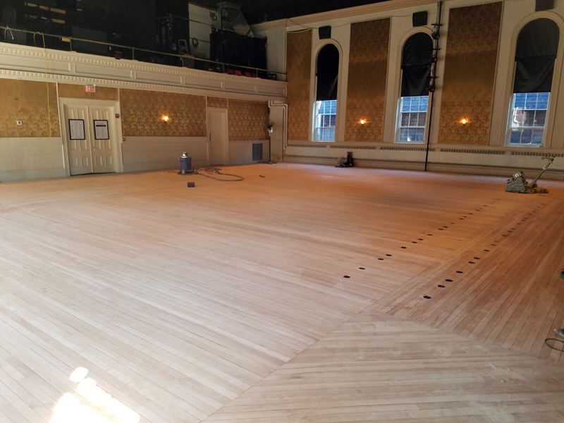 The Lincoln Theater floor after sanding. The refinished floor will make its debut when the theater reopens Friday, Sept. 8. (Photo courtesy Andrew Fenniman)