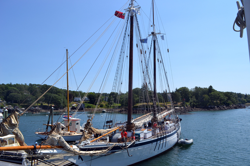 The Harvey Gamage returned to Gamage Shipyard on Tuesday, Aug. 1. The late South Bristol shipbuilder Harvey Gamage built the schooner there in 1973. (Remy Segovia photo)