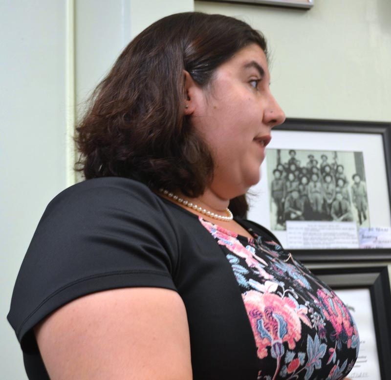Wiscasset Public Safety Advisory Council Chair Holly Giles urges the Wiscasset Board of Selectmen to increase spending on public safety Tuesday, Aug. 1. (Abigail Adams photo)