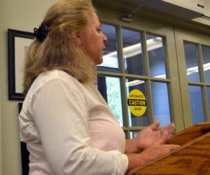 Lucinda Tilas addresses the Wiscasset Board of Selectmen on Aug. 22. (Abigail Adams photo)
