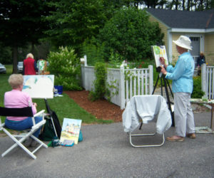 Artists at work, en plein air, at the Jan Kilburn Gallery.