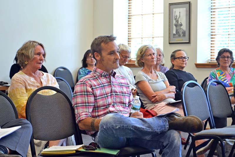 Gabe Shadis (center) addresses the Damariscotta Board of Appeals on Tuesday, Sept. 26 about his appeal of the Damariscotta Planning Board's approval of Stepping Stone Housing Inc.'s plans for the former Blue Haven property. (Maia Zewert photo)