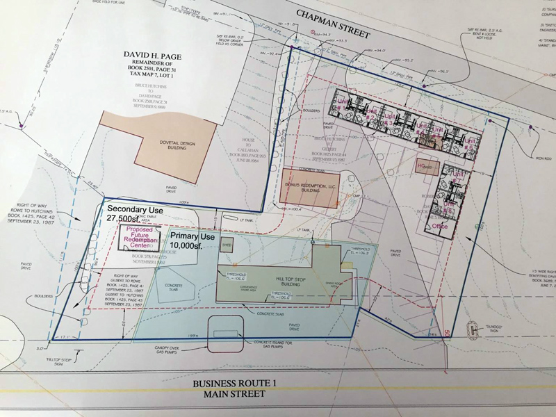 A sketch plan for the Hilltop Stop property in Damariscotta shows the location of a motel and a new redemption center the property owner plans to build.