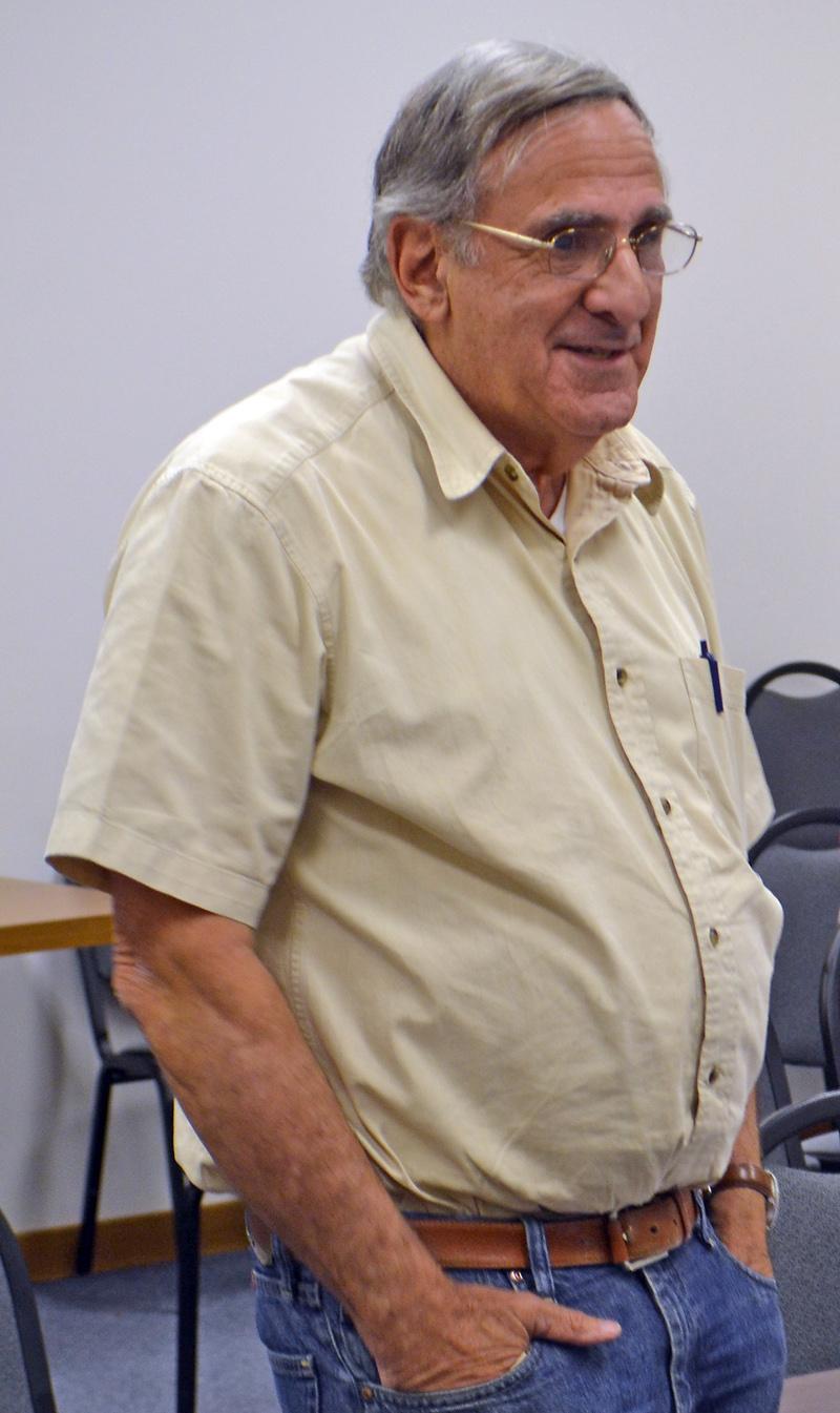 Bremen developer Dan Goldenson talks about his plan to build an eight-room motel near Hilltop Stop in Damariscotta during the Damariscotta Planning Board meeting Monday, Sept. 11. (Maia Zewert photo)