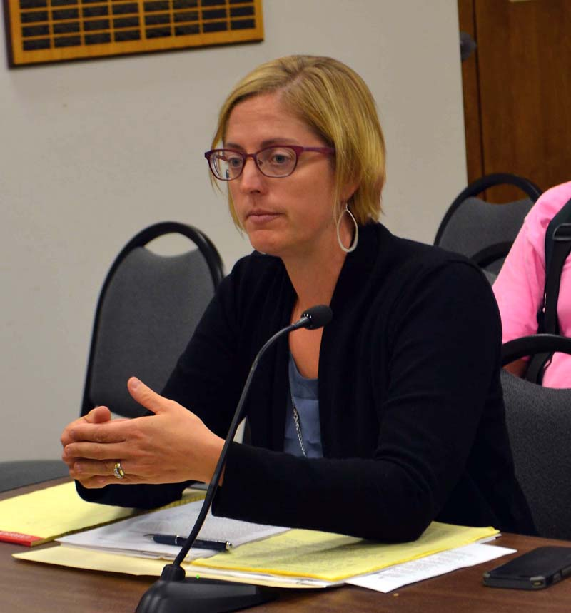 Damariscotta town attorney Jenny Villeneuve discusses a petition for a moratorium on commercial development during the Damariscotta Board of Selectmen's meeting Tuesday, Sept. 19. (Maia Zewert photo)