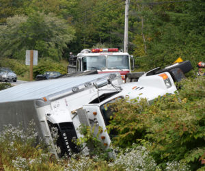 Bait Truck Rollover Slows Traffic on Route 27 in Edgecomb, No Injuries
