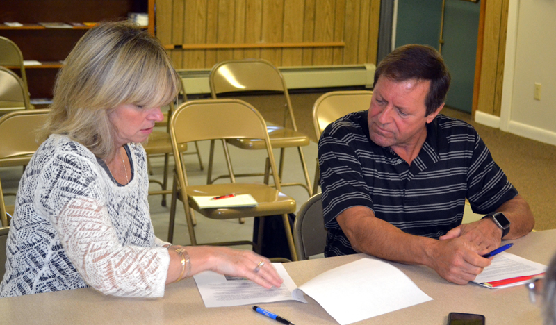 Maggie Connelly and Maine Department of Transportation Regional Planner Gerry Audibert discuss the Eddy Road at the Edgecomb Board of Selectmen's Monday, Sept. 11 meeting. (Abigail Adams photo)