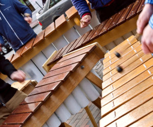 The nine-piece Maine Marimba Ensemble: 18 hands on deck. (Photo courtesy Kellie Bigos)