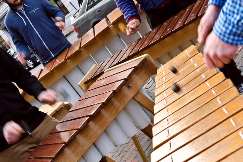 The nine-piece Maine Marimba Ensemble: 18 hands on deck. (Photo courtesy Kellie Bigos)