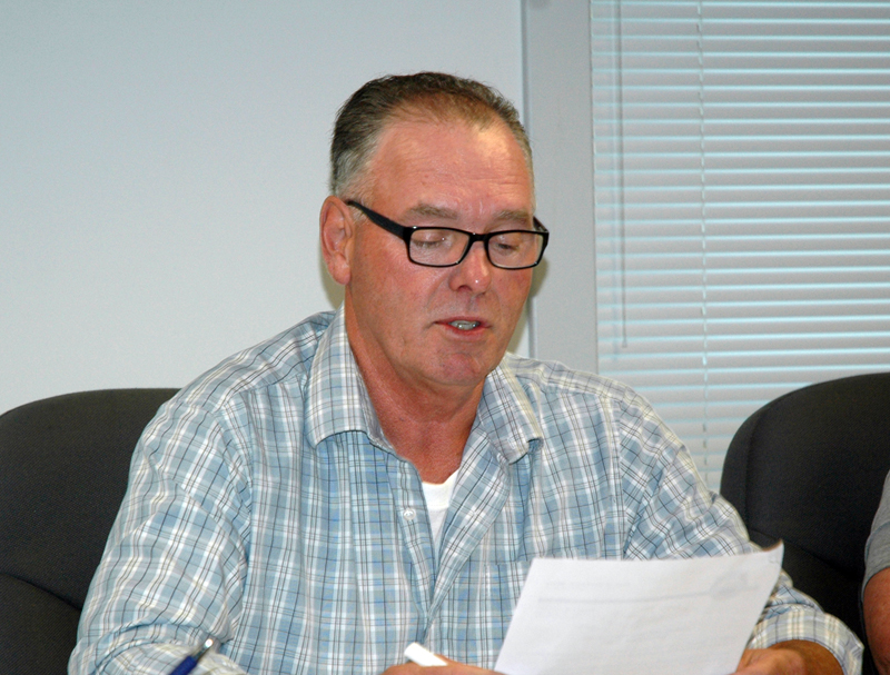 Waldoboro Board of Selectmen Chair Clinton Collamore reads a Constitution Week Proclamation during the board's meeting Tuesday, Sept. 12. (Alexander Violo photo)