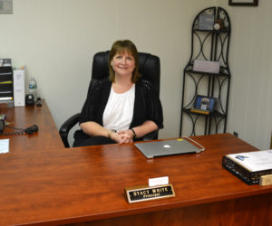 Wiscasset Elementary School Principal Stacy White sits at her desk Aug. 29, one week before the start of the school year. (Abigail Adams photo)