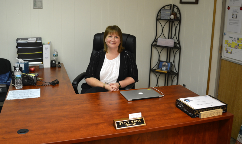 principal elementary desk abigail adams wiscasset stacy lincoln county kicks sits aug start week before
