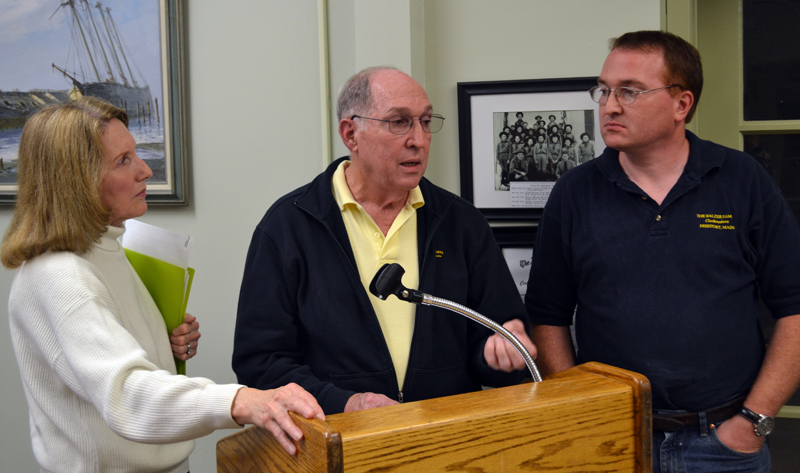 From left: Linda, Rick, and Chris Balzer, of Balzer Family Clock Works, speak with the Wiscasset Board of Selectmen about the town clock Tuesday, Sept. 19. (Abigail Adams photo)