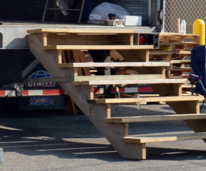 The stairway used to load hurricane-relief supplies onto a trailer at The American Legion in Damariscotta is missing.