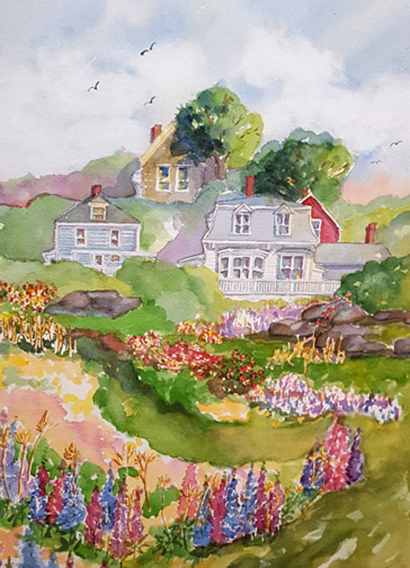 """Kathleen Horst, of Damariscotta, is inspired by the historic architecture of Maine villages. Her painting """"Stonington"""" reflects that inspiration."""