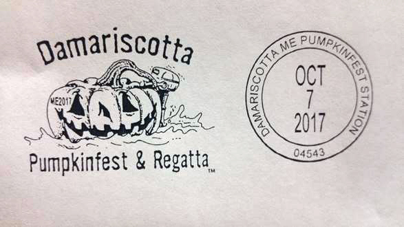The special Damariscotta Pumpkinfest & Regatta postal cancellation stamp for 2017.
