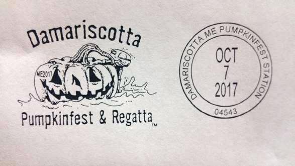 The special Damariscotta Pumpkinfest & Regatta postal cancellation stamp for 2017.