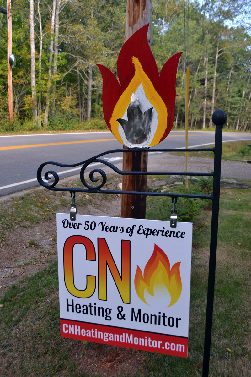 The sign for CN Heating & Monitor. (Maia Zewert photo)