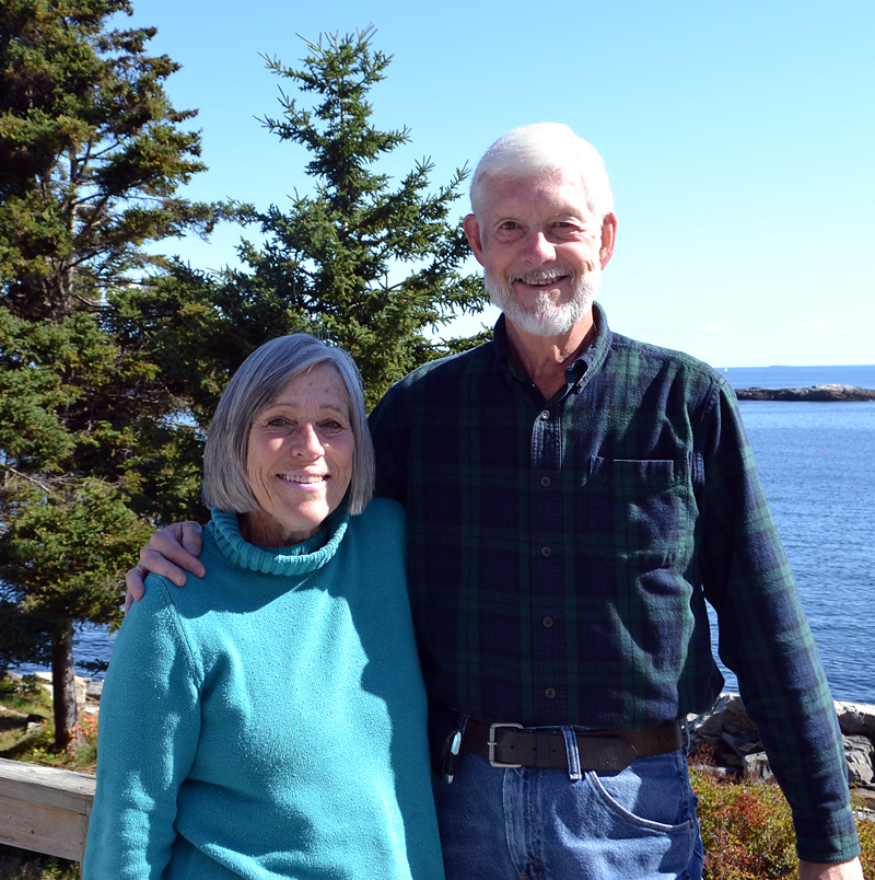 Sue and Jim MacKenzie at their home in New Harbor. (Maia Zewert photo)