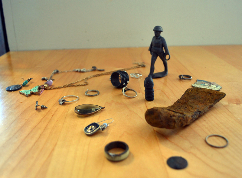 During their metal-detecting excursions, Jim and Sue  MacKenzie, of New Harbor, have found countless coins and lost earrings. Some of the more unusual finds include a lead soldier and a piece of an antique tool. (Maia Zewert photo)