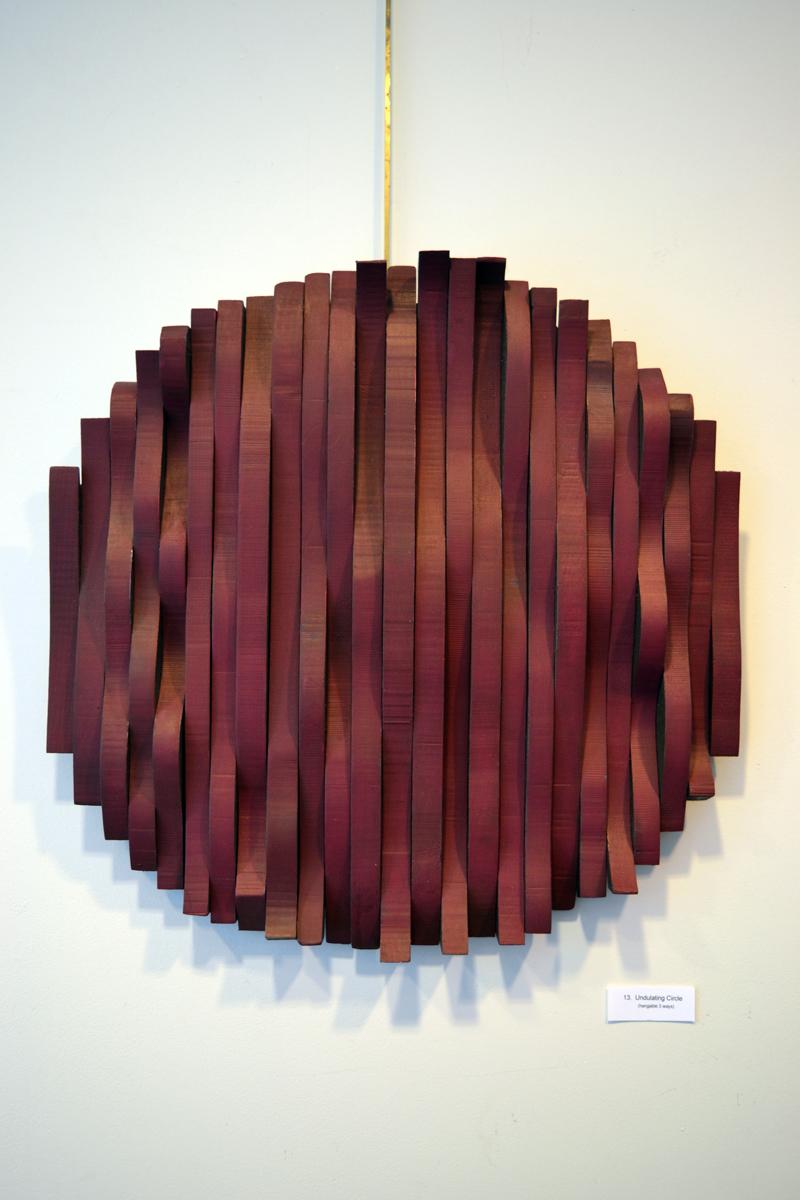 "Bernice Masse Rosenthal's wood assemblage piece ""Undulating Circle."" (Christine LaPado-Breglia photo)"
