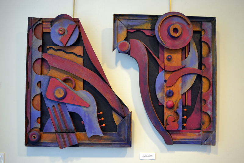 """""""Split Frame #1,"""" by Bernice Masse Rosenthal, consists of """"2 parts, each hangable 4 ways,"""" as the accompanying card points out. (Christine LaPado-Breglia photo)"""