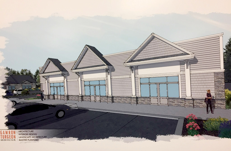 The new design of one of three buildings Portland developer Daniel Catlin hopes to bring to 435 Main St. in Damariscotta.
