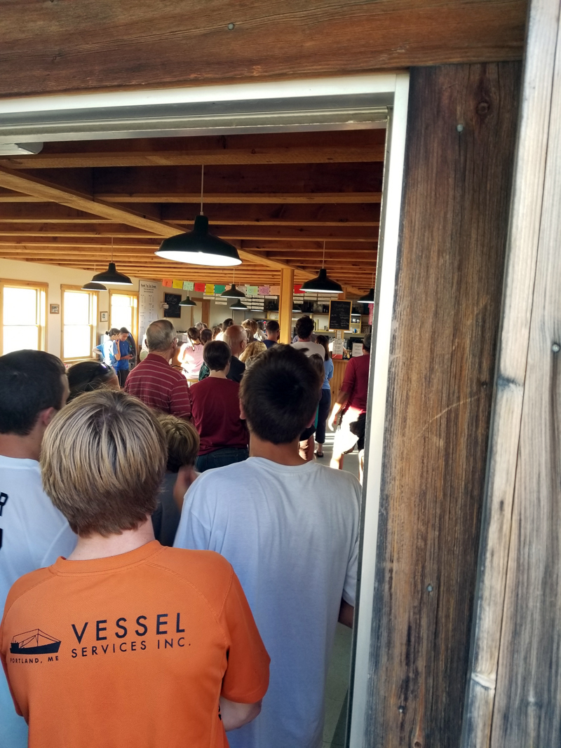 The line runs out the door during a fundraiser for Alice Skiff at Round Top Ice Cream in Damariscotta on Tuesday, Oct. 10. (Photo courtesy Megan Hyson)