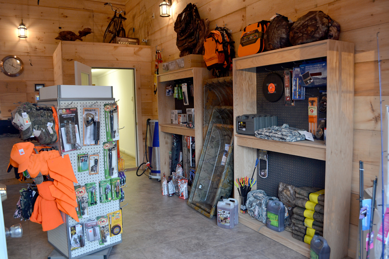 Some of the hunting and fishing merchandise now available at the Dresden Take Out. (Maia Zewert photo)